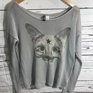 H & M Divided Greay Cute Cat Shirt Size M